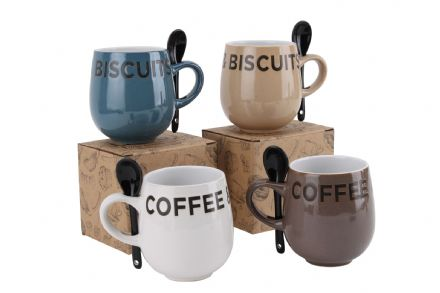 50% off 'COFFEE & BISCUITS' MUG & SPOON SET